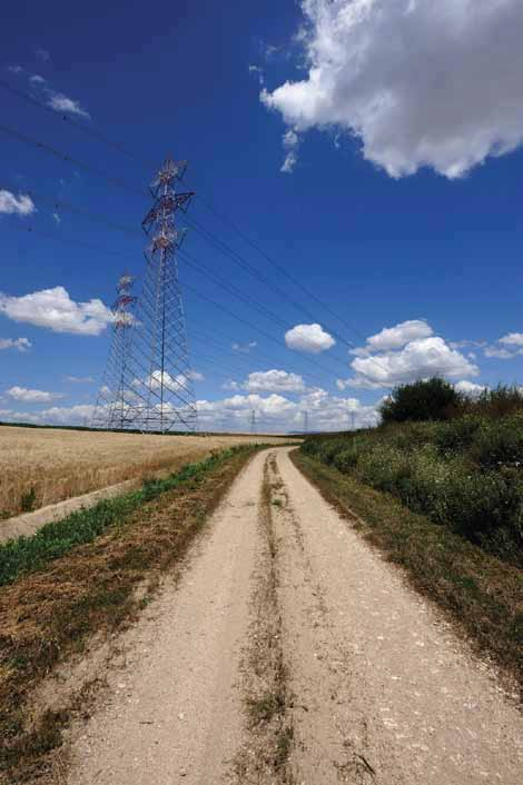 Transmission line adjacent to road